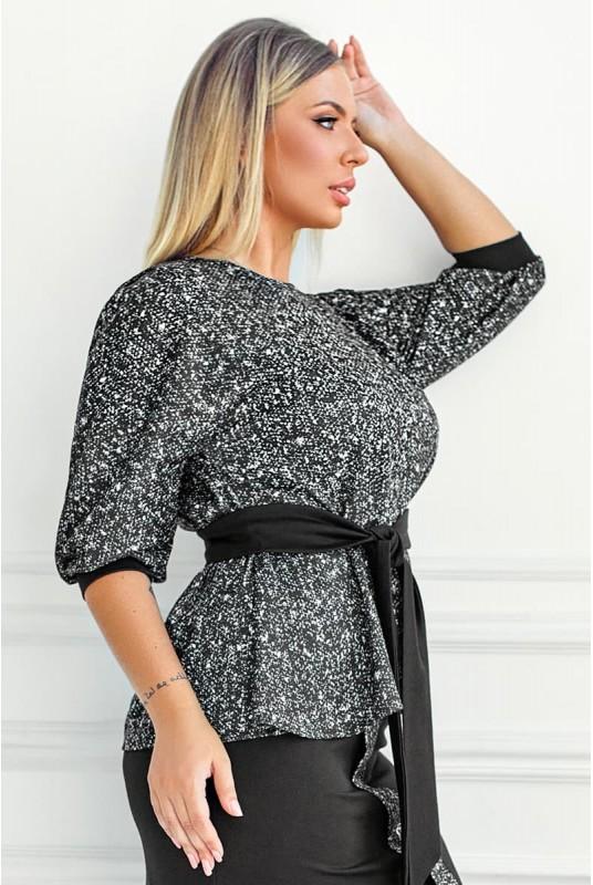 блузка с поясом, серая блузка